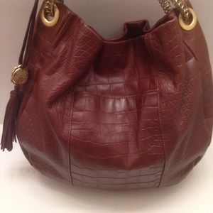 Vince Camuto brown embossed leather hobo